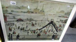 LS Lowry playground print dated 1945 64 x 49 cm