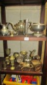 A mixed lot of metalware including vases, ewer, teapot etc.