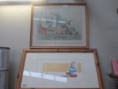 A Beatrix Pottery 100 years of Peter Rabbit print and 1 other 54 x 44cm and 68 x 38 cm