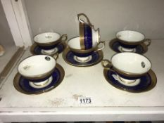 6 Aynsley Georgian Cobolt bone china cups & saucers