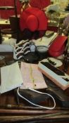 A mixed lot of retro hand bags, shoes, hats etc.
