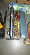 A cantilever tool box and tools.