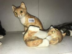 2 signed ginger & white Winstanley kittens with glass eyes (slight roughness to touch on ears) -