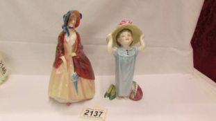 Two Royal Doulton figurines - Paisley Shawl HN 1988 and Make Believe Hn 2225 (chip in shoe).