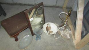 A foot stool, mirror etc.