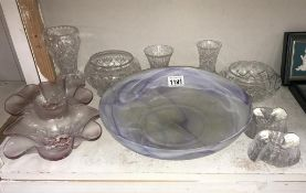 A quantity of glass vases, bowls,