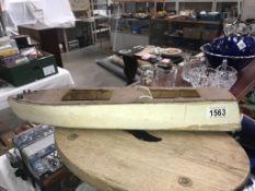 A vintage wooden launch boat (48cm long)