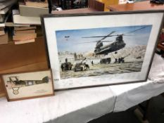 A multi signed print 'gun life at Mrkonjic Grad' Chinook helicopter & 1 other (75cm x 55cm & 31cm X