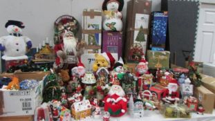 A huge lot of assorted Christmas decorations.