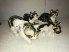 4 signed Winstanley kittens with glass eyes, sizes 1, 1, 2 & 2,