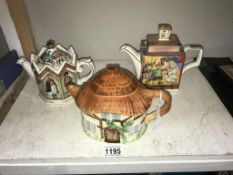 2 Sadler teapots and a cottage ware teapot (small chip inside soldier teapot)
