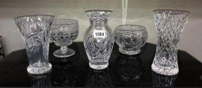 3 good glass/crystal vases & 2 bonbon bowls/dishes