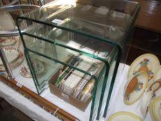 A set of unusual heavy glass nest of tables, no damage, Sizes; 43cm x 43cm x 43cm,