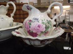 2 floral pattern jug and bowl sets (smaller one has small chip to base,