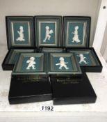 8 boxed porcelain sculptures in frames by Royal Hampshire Art Studio