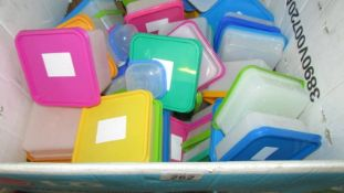A large box of plastic storage boxes.