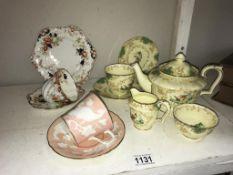 A Crown Staffordshire tea set for 1 including teapot, sugar, milk, trio,