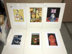 Collection of 6 pop art prints circa 1990's artist's include Peter Blake, Bruno Goller, Andy Warhol,