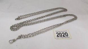 A 160 cm long silver watch chain, 53.8 grams.