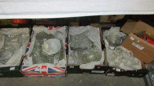 Four boxes of glass ware etc.