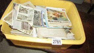 A large box of post cards.