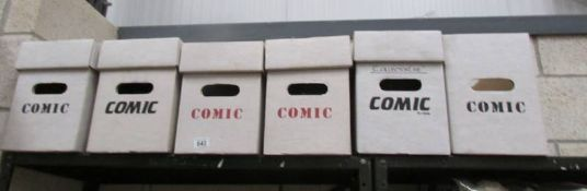 6 empty comic boxes suitable for DC/Marvel comics, one missing lid. (Collect only).