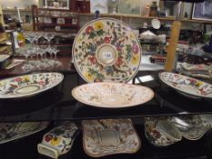 A collection of Indian tree china including wall pocket etc plus 2 unusual coloured pieces