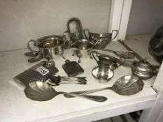 A quantity of silver plated items & 2 spirit flasks