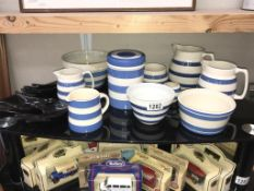 A quantity of blue and white including T G Green,