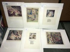 Thomas Rowlandson (1756-1827) Collection of 6 risque/erotic prints/plates circa 1960s.