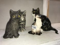 3 Signed Winstanley cats with glass eyes, sizes 2, 2 & 1 & 1 signed Mike Hinton, no chips/cracks,