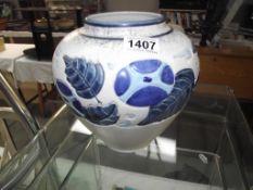 Crown Devon blue floral vase 20cm high