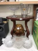 A selection of glassware including cake stand, large brandy glass,