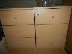 A pair of pine effect bedsides. (Collect only).
