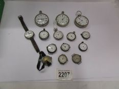 A mixed lot of ladies and gents pocket and wrist watches for spare or repair including some silver,