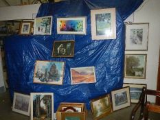 A large lot of paintings and prints (29 in total) (Collect only).