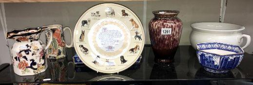 A Beswick chamber pot, boxed Aynsley The Dog collectors plate, Masons Jug,