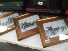 3 framed and glazed coaching prints