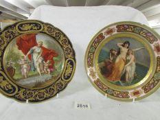 An early 19th century hand painted Vienna cabinet plate entitled 'La Toilette du Venus',