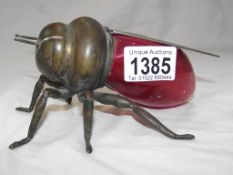 Victorian Cranberry bodied novelty shaped bee honey pot with Mappin & Webb fittings