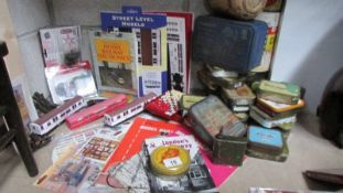 A mixed lot of vintage tins (most with contents) together with a mixed lot of railway related items.