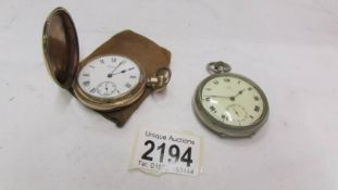 A Omega pocket watch and a gold plated Waltham full hunter pocket watch.