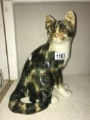 A signed Winstanley sitting Tabby cat with glass eyes, size 5, no chips/cracks,