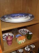 3 shelves of miscellaneous including large blue willow meat platter, Indian tree plates,
