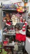 A large lot of Christmas decorations.