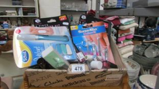 A box of assorted manicure items etc.