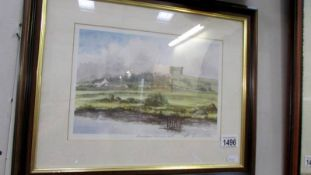 No 4 Ron Davidson 20th c British School signed print after the watercolour The Greek Temple Penshaw