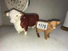 A Beswick 'Champion of Champions' bull & a Beswick calf