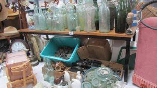 A good lot of vintage glass ware, stoneware pots etc.