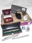 A quantity of miscellaneous pens and wristwatches including Rotary etc